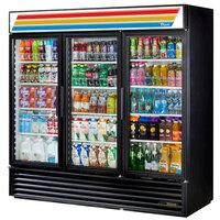 True GDM-72-LD Black Glass Door Refrigerated Merchandiser with LED Lighting