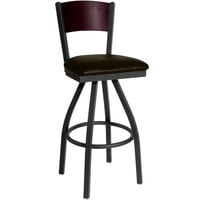 BFM Seating 2150SDBV-MHSB Dale Sand Black Metal Swivel Bar Height Chair with Mahogany Finish Wooden Back and 2 inch Dark Brown Vinyl Seat