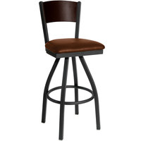 BFM Seating 2150SLBV-WASB Dale Sand Black Metal Swivel Bar Height Chair with Walnut Finish Wooden Back and 2 inch Light Brown Vinyl Seat