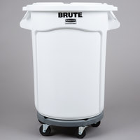 Rubbermaid BRUTE 32 Gallon White Ingredient Bin / Trash Can, Lid, and Dolly Kit