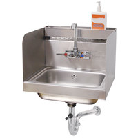 Advance Tabco 7-PS-76 Hand Sink with Splash Mounted Gooseneck Faucet, 12 inch Side Splash Guards and Utility Tray - 17 1/4 inch