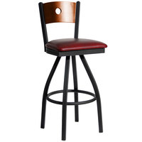 BFM Seating 2152SBUV-CHSB Darby Sand Black Metal Bar Height Chair with Cherry Wooden Back and 2 inch Burgundy Vinyl Swivel Seat