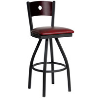 BFM Seating 2152SBUV-MHSB Darby Sand Black Metal Bar Height Chair with Mahogany Wooden Back and 2 inch Burgundy Vinyl Swivel Seat