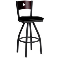 BFM Seating 2152SBLV-MHSB Darby Sand Black Metal Bar Height Chair with Mahogany Wooden Back and 2 inch Black Vinyl Swivel Seat