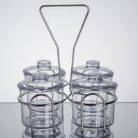 4 Compartment Wire Condiment Caddy with 7 oz. Clear Plastic Jars and Lids