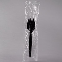 Choice Individually Wrapped Medium Weight Black Plastic Spork - 100 / Pack