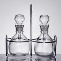 2 Compartment Wire Caddy with 6 oz. Glass Cruets and Stoppers