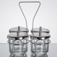 4 Compartment Wire Condiment Caddy with 7 oz. Glass Jars and Stainless Steel Lids
