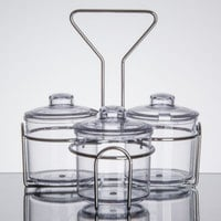 3 Compartment Wire Condiment Caddy with 7 oz. Clear Plastic Jars and Lids