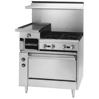 Blodgett BRB-12G-4 4 Burner 36 inch Manual Gas Range with Left 12 inch Raised Griddle / Broiler and Cabinet Base - 160,000 BTU