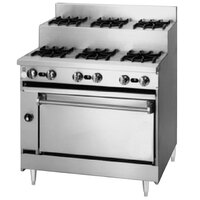 Blodgett BRE-3-3-36C 6 Burner 36 inch Step-Up Gas Range with Convection Oven Base - 150,000 BTU
