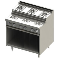 Blodgett BRE-3-4 7 Burner 36 inch Step-Up Gas Range with Cabinet Base - 120,000 BTU