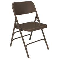 National Public Seating 303 Brown Premium Metal Triple-Brace Folding Chair