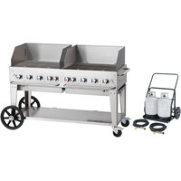 Crown Verity MCC-60WGP 60 inch Mobile Outdoor Cart Grill with 2 Vertical Propane Tanks and Wind Guard Package