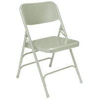 National Public Seating 302 Gray Premium Metal Triple-Brace Folding Chair