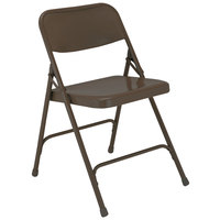 National Public Seating 203 Brown Premium Metal Folding Chair