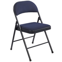 National Public Seating 964 Commercialine Blue Metal Folding Chair with Blue Padded Fabric Seat