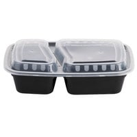 Choice 24 oz. Black 9 inch x 6 1/4 inch x 2 3/4 inch 2-Compartment Rectangular Microwavable Container with Lid - 25/Pack