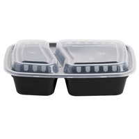 Choice 24 oz. Black 9 inch x 6 1/4 inch x 2 3/4 inch 2-Compartment Rectangular Microwavable Heavyweight Container with Lid - 25/Pack