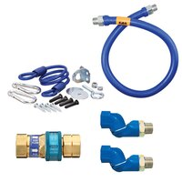 Dormont 1650BPQ2SR36 SnapFast® 36 inch Gas Connector Kit with Two Swivels and Restraining Cable - 1/2 inch Diameter