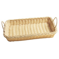 GET WB-1524-N Designer Polyweave Plastic Rectangular Basket with Handles Natural - 12/Pack