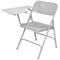 National Public Seating 5202R Gray Steel Premium Folding Chair with Right Gray Tablet Arm