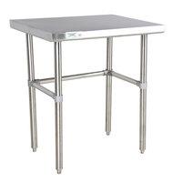 "Regency 30"" x 30"" 16-Gauge 304 Stainless Steel Commercial Open Base Work Table"