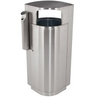 Commercial Zone 78222999 Leafview 20 Gallon Stainless Steel Trash Receptacle with Cigarette Receptacle