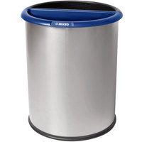 Commercial Zone 784129 Precision 3.2 Gallon Classic Stainless Steel InnRoom Recycler Trash Receptacle with Black and Blue Liners