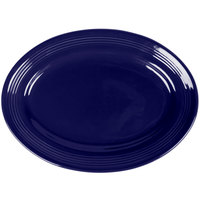 Tuxton CCH-116 Concentrix 11 1/2 inch x 8 3/8 inch Cobalt Oval China Platter - 12/Case