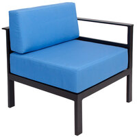 BFM Seating PH6101BL-L Belmar Black Aluminum Outdoor / Indoor Cushion Armchair with Left Armrest