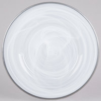 The Jay Companies 13 inch Round Silver Alabaster Glass Charger Plate with Silver Rim