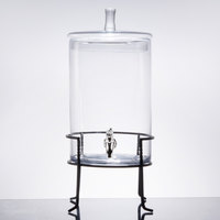 2.5 Gallon Round Glass Beverage Dispenser with Metal Stand
