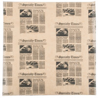 American Metalcraft PPRN1616 16 inch x 16 inch Natural Newspaper Print Deli Sandwich Wrap Paper - 1000 / Case