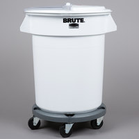 Rubbermaid Brute 20 Gallon Ingredient Storage Bin and Dolly Kit with 3 Cup Measuring Scoop