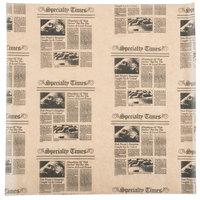 American Metalcraft PPCN1616 16 inch x 16 inch Natural Newspaper Print Deli Sandwich Wrap Paper - 1000/Case
