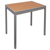 BFM Seating PH3636TKSVU4L Longport 36 inch Square Silver Aluminum Outdoor / Indoor Standard Height Table - Synthetic Teak