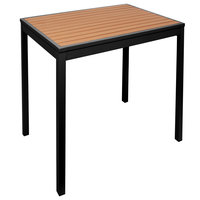 BFM Seating PH3232TKBLU4L Longport 32 inch Square Black Aluminum Outdoor / Indoor Standard Height Table - Synthetic Teak