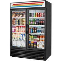True GDM-49-LD Black Glass Door Refrigerated Merchandiser with LED Lighting