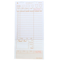 Royal Paper GC4997-2B 2 Part Tan and White Carbonless Guest Check with Bottom Guest Receipt - 10/Pack