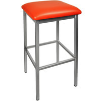 BFM Seating 2510BRDV-CL Trent Clear Coated Steel Bar Stool with 2 inch Red Vinyl Seat