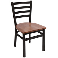BFM Seating 2160CASH-SB Lima Sand Black Steel Side Chair with Autumn Ash Wooden Seat