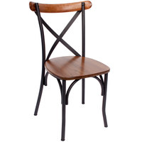 BFM Seating JS88CASH-SB Henry Sand Black Steel Side Chair with Autumn Ash Wooden Back and Seat