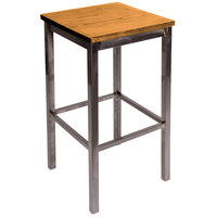 BFM Seating 2510BNTW-CL Trent Clear Coated Steel Bar Stool with Natural Wooden Seat