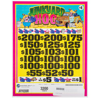 Junkyard Hog 3 Window Pull Tab Tickets - 3200 Tickets per Deal - $2260 Total Payout