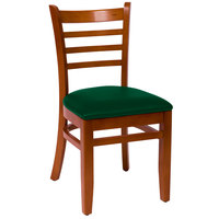 BFM Seating LWC101CHGNV Burlington Cherry Colored Beechwood Side Chair with 2 inch Green Vinyl Seat