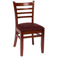 BFM Seating LWC101MHBUV Burlington Mahogany Colored Beechwood Side Chair with 2 inch Burgundy Vinyl Seat