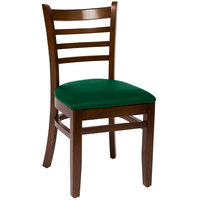 BFM Seating LWC101WAGNV Burlington Walnut Colored Beechwood Side Chair with 2 inch Green Vinyl Seat