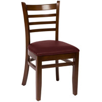 BFM Seating LWC101WABUV Burlington Walnut Colored Beechwood Side Chair with 2 inch Burgundy Vinyl Seat