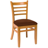 BFM Seating LWC101NTLBV Burlington Natural Colored Beechwood Side Chair with 2 inch Light Brown Vinyl Seat